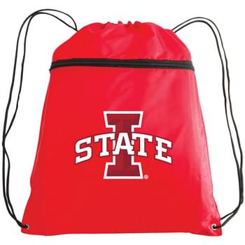 "Polyester Drawstring Backpack w/ Zipper Front Pocket - 1 Color (14""x19"")"