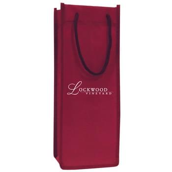 "Non Woven Single Bottle Wine Tote Bag w/ Rope Handles - 1 Color (5""x13""x4"")"
