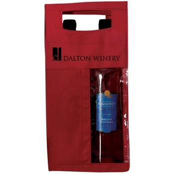 "Non Woven 2 Bottle Wine Tote w/ Clear Window - 1 Color (6 1/2""x14""x3 1/4"")"
