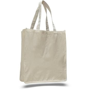 "12 Oz. Natural Canvas Book Tote Bag w/ Full Gusset - 1 Color (14""x17""x7"")"
