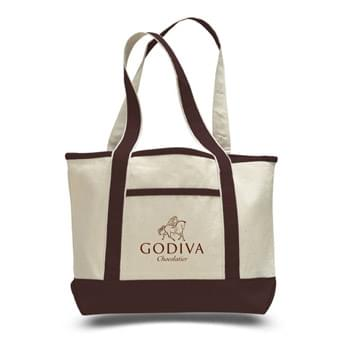 "2 Tone Canvas Tote Bag w/ Interior Zipper Pocket - 1 Color (18.5""x12""x5.5"")"