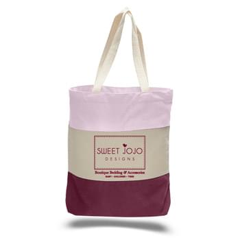 "12 Oz. Canvas Tri Color Tote Bag w/ Gusset - 1 Color (15""x15""x3"")"