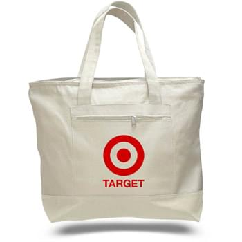 "12 Oz. Natural Canvas Zipper Tote Bag - 1 Color (18""x14""x4 1/2"")"