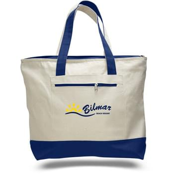 "12 Oz. 2 Tone Canvas Zipper Tote Bag - 1 Color (18""x14""x4 1/2"")"