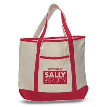 "2 Tone Canvas Tote Bag w/ Interior Zipper Pocket - 1 Color (22""x16""x6"")"