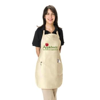 "Colored Full Length Twill Bib Apron with Patch Pockets - 1 Color (22""x30"")"