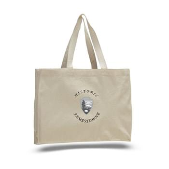 "12 Oz. Natural Canvas Tote Bag w/ Full Gusset - 1 Color (15""x12""x4"")"
