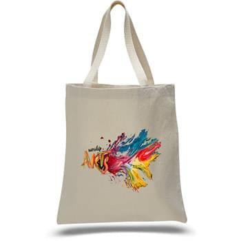 "12 Oz. Natural Canvas Promotional Bag w/ Web Handles - 1 Color (15""x16"")"