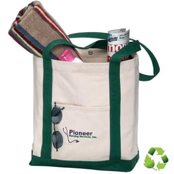 "2 Tone Canvas Boat Bag with Snap Closure - 1 Color (17""x13""x5"")"